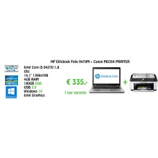 "HP Elitebook Folio 9470M Ultrabook Core i5-3427U 1.8Ghz 4GB 180GB SSD Backlit KB 14,1"" Windows 10 + Canon MG350  + Gratis Laptoptas !"